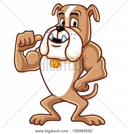Bulldog Cartoon Mascot Character Vector Clipart Illustration