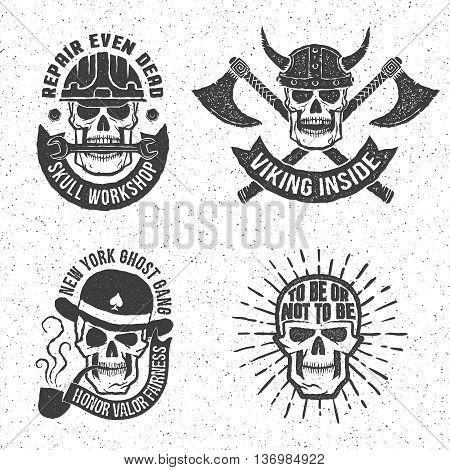 Vintage skull emblems with letterpress or rubber stamp effect. Background on separate layer. Vector illustration.