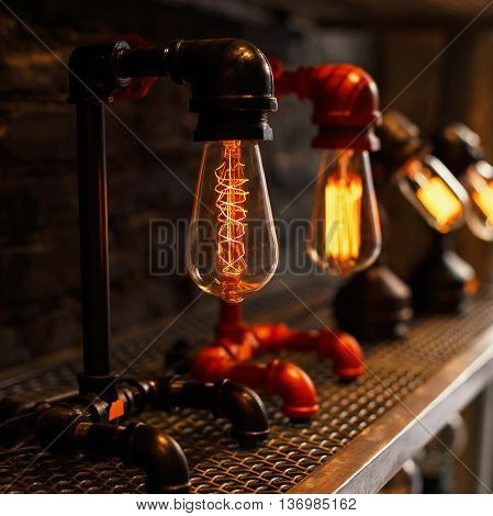 Beautiful vintage retro lamp. Electricity. The concept of electric energy