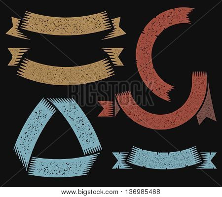 Vintage banners and ribbons for coats of arms with letterpress or rubber stamp effect. Vector illustration.