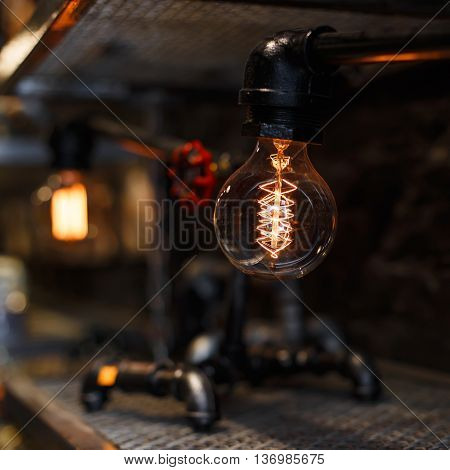 Closeup vintage Lamp. The concept of electric energy