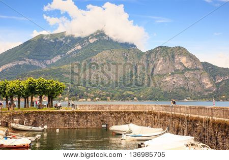 BELLAGIO ITALY - JUNE 12: View of lake Como from Bellagio on june 12 2016