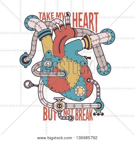 Mechanical human heart with machinery elements in steam punk style. Contours hatching background text on separate layers.