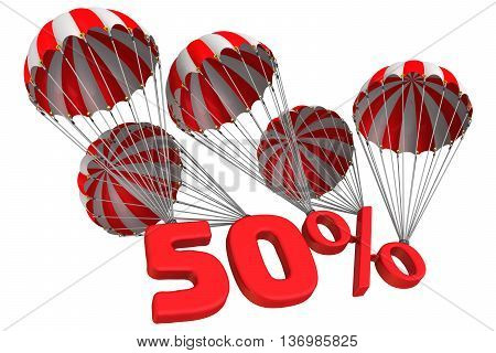 Fifty percent is falling down on parachute. Isolated. 3D Illustration