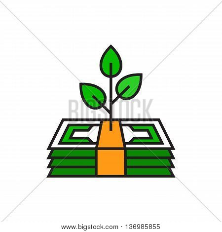 Tree growing on banknote stack. Growing profit, dollar banknores, money. Finance concept. Can be used for topics like money, business, profit, finance