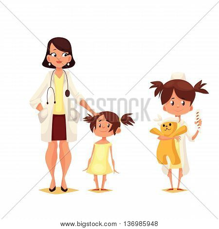 Pediatrician doctor with his patient, cartoon comic illustration isolated on white background, Dr. pediator with a small child, a child plays in the doctor holding a toy