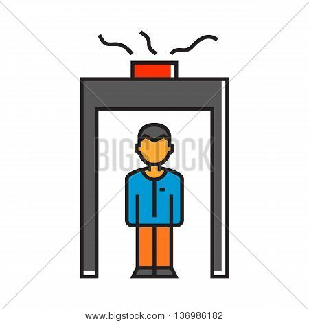 Man going through metal detector gate. Security, passenger, airport, technology. Airport concept. Can be used for topics like airport, security, travel