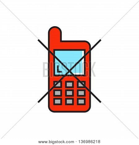 Illustration of crossed mobile phone. Mobile phone use prohibited, silence, no talking.  Mobile phone concept. Can be used for topics like mobile technology, airport, security