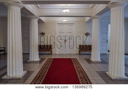 VELIKY NOVGOROD RUSSIA-JULY 1 2016. Entrance hall with columns in the interior of the Art Museum of Veliky Novgorod