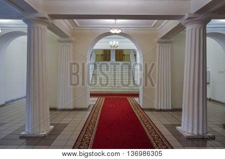 VELIKY NOVGOROD RUSSIA-JULY 1 2016. Architecture details of entrance hall in the interior of the Art Museum of Veliky Novgorod
