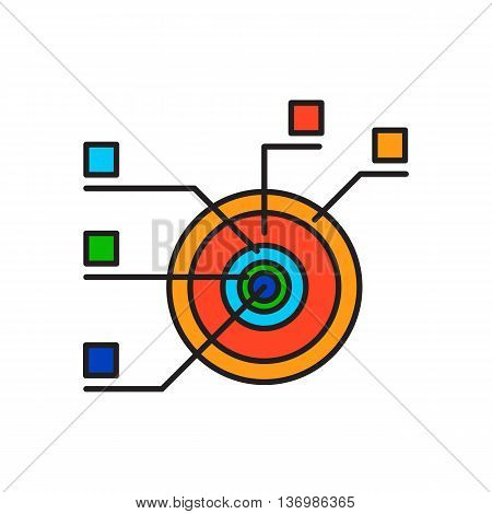Pie chart. Diagram, analysis, statistics. Business concept. Can be used for topics like finance, presentation, business, analysis