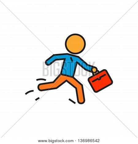 Running person with briefcase. Running businessman, business, late, time, hurry. Business concept. Can be used for tpics like business, time, work