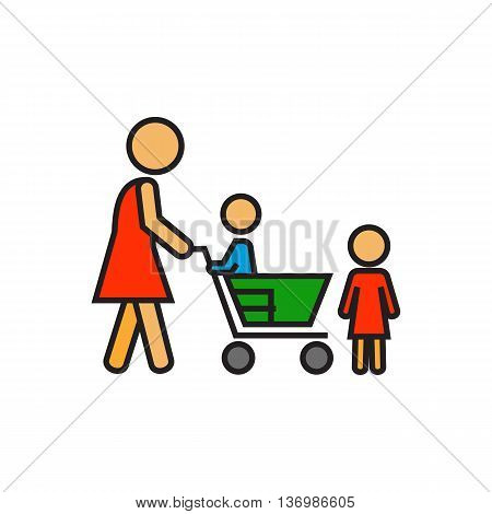 Woman with children and shopping cart. Shopping with children, supermarket, buying. Shopping with child concept. Can be used for topics like  shopping, family, customers