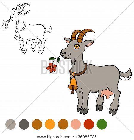 Coloring Page. Color Me: Goat. Cute Goat Holds A Flower In The M