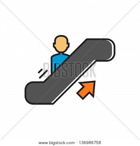 Man moving up on escalator. Staircase, walkway, transportation. Airport concept. Can be used for topics like airport, shopping, transport