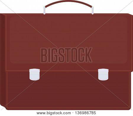 Brown isolated diplomat or briefcase icon vector