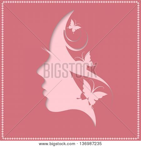 Beautiful girl with butterfly, Profile of a beautiful woman on a pink background