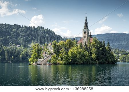 Old church on an island on Bled lake in Slovenia