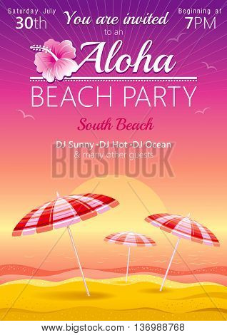 Aloha beach party background with umbrellas and hibiscus