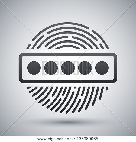 Vector Fingerprint Password Icon. Fingerprint Password Simple Icon On A Light Gray Background