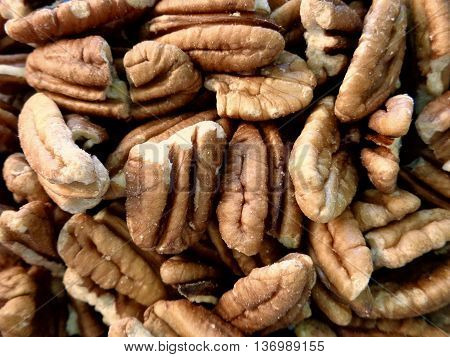 Pile of raw, unsalted pecans close up