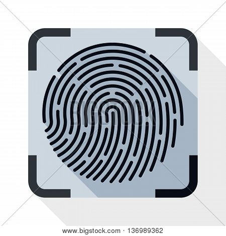 Vector Fingerprint Scanning Icon. Fingerprint Scanning Simple Icon In Flat Style With Long Shadow On