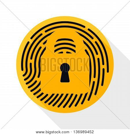 Vector Touch Id Fingerprint Icon. Touch Id Fingerprint Simple Icon In Flat Style With Long Shadow On