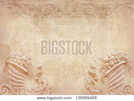 Blank for flyers messages menu cards posters etc. in shabby chic. Graphic collage in vintage style with meander capitalsfriezes stone fruits. Baroque figures and details carved on building.