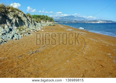 Panorama of Red sands of xsi beach, Kefalonia, Ionian Islands, Greece