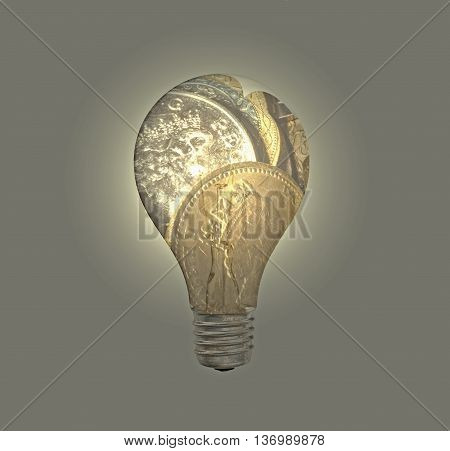 Shiny and golden Pound coins in lightbulb