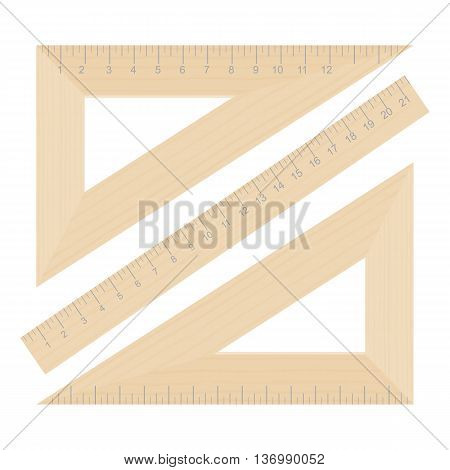 Wooden triangle rulers vector illustration isolated on a white background