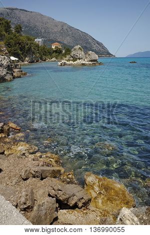 Rocks on the coastline of Lefkes,  Kefalonia, Ionian Islands, Greece