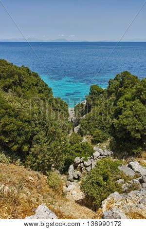 Blue waters on the small beach, Kefalonia, Ionian Islands, Greece