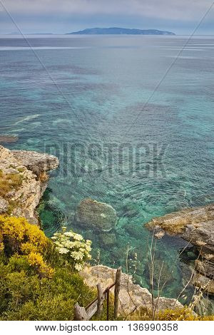 Rocks in the water of Pesada beach, Kefalonia, Ionian islands, Greece
