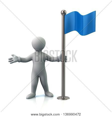 3D Illustration Of Cartoon Man And Blue Flag