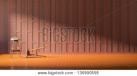 3d rendering Thai partition decoration style wood flooring