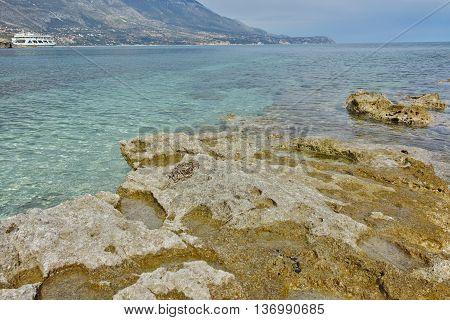 Amazing seascape of Pesada beach, Kefalonia, Ionian islands, Greece