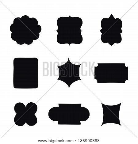 Collection of vintage label shapes. Vector illustration.