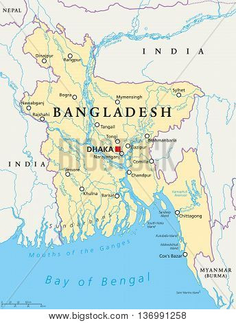 Bangladesh political map with capital Dhaka, national borders, important cities, rivers and lakes. English labeling. Illustration.