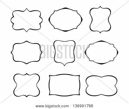 Set of simple frames. Collection of label shapes. Vintage frames. Vector illustration.