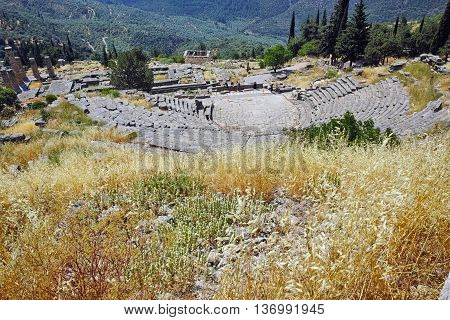 Panoramic view of Amphitheater in Ancient Greek archaeological site of Delphi,Central Greece