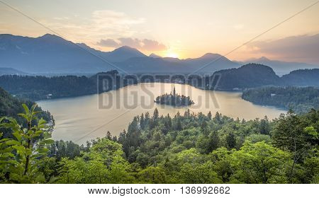 Aerial view on Bled lake in Slovenia