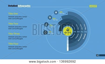 Doughnut chart slide template. Business data. Graph, diagram, design. Creative concept for infographic, templates, presentation, report. Can be used for topics like analysis, marketing, finance.