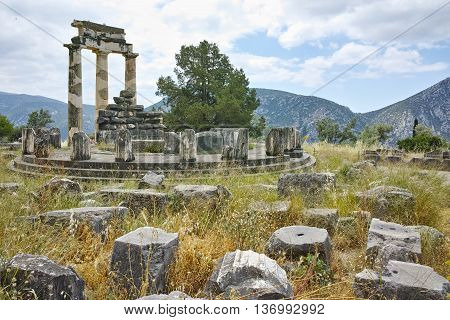 Athena Pronaia Sanctuary in Ancient Greek archaeological site of Delphi,Central Greece