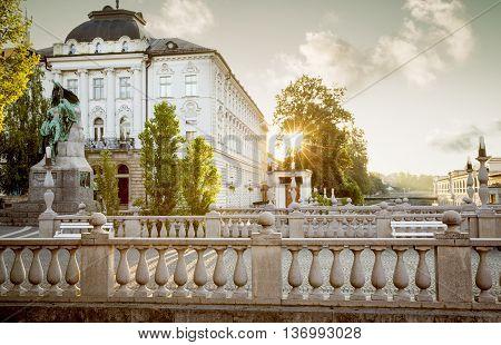 Triple bridge in the old town of Ljubljana Slovenia