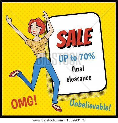 vector illustration of a happy retro style jumping women excited because of sale