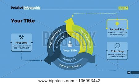 Three arrows diagram. Element of diagram, chart, presentation, graphic. Concept for infographics, templates, reports. Can be used for topics like marketing analysis, business strategy