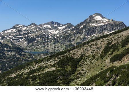 Amazing Panorama of Popovo lake, Dzhangal and Kamenitsa peaks in Pirin Mountain, Bulgaria