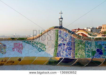 detail of famous colorful bench of park Guell, Barcelona city, Spain