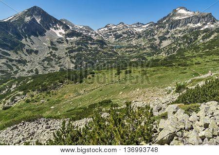 Amazing Landscape of Popovo lake, Dzhangal and Kamenitsa peaks in Pirin Mountain, Bulgaria